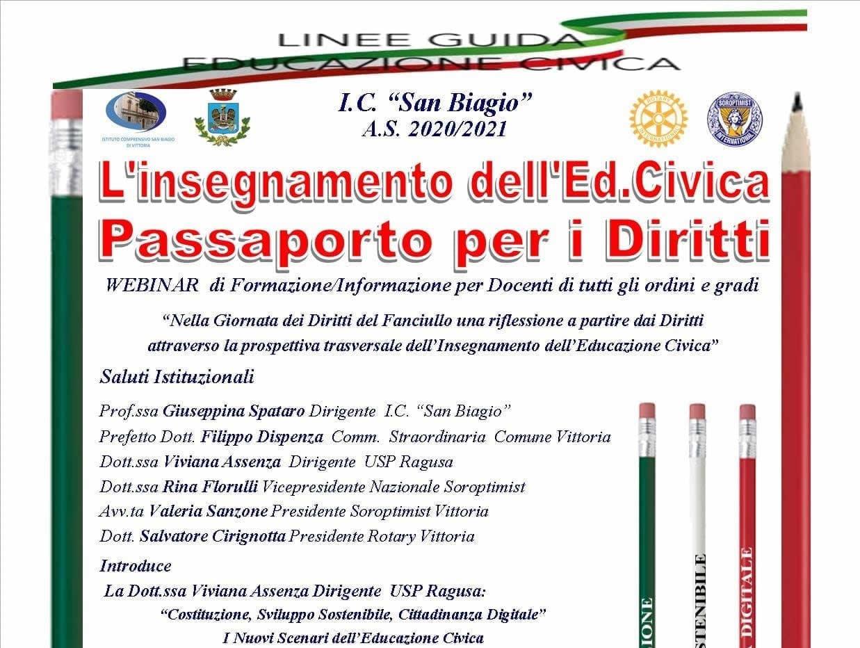 20 Novembre – L'insegnamento dell'Educazione civica. Passaporto per i Diritti. Webinar di formazione -informazione per docenti