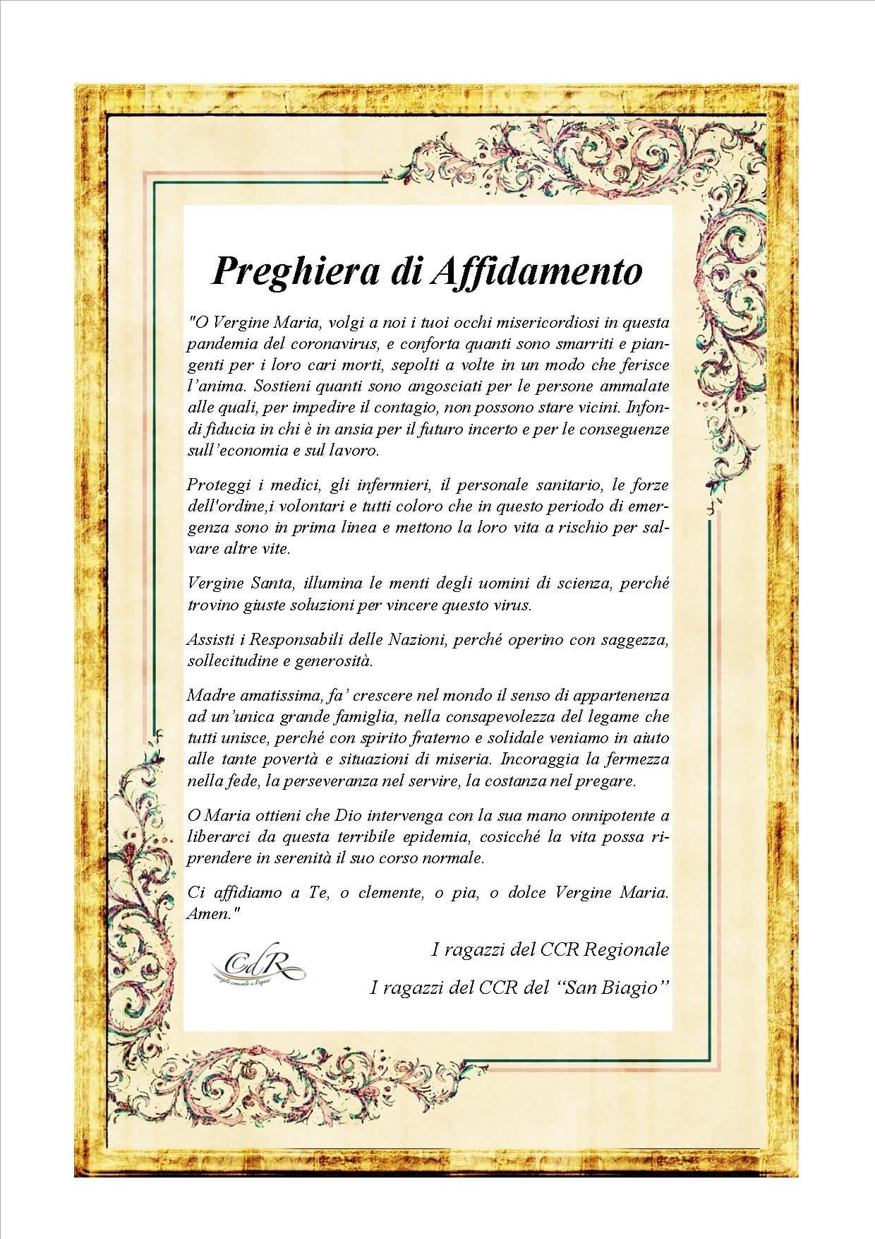 Iniziativa dei ragazzi dell'Istituto San Biagio di Vittoria: Preghiera di Affidamento