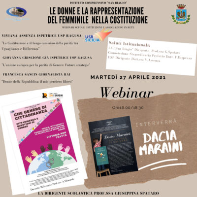 27 Aprile – Le donne e la rappresentazione del femminile nella Costituzione – Webinar con Dacia Maraini
